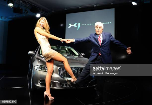 Elle MacPherson and Jay Leno launch the new Jaguar XJ at the Saatchi Gallery in London