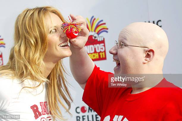 Elle Macpherson and Matt Lucas during Red Nose Day 2005 Launch Big Hair and Beyond in London Great Britain