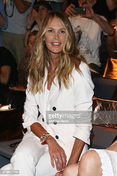 Elle Macpherson attends the Marc Cain show during the MercedesBenz Fashion Week Berlin Spring/Summer 2016 at Brandenburg Gate on July 7 2015 in...