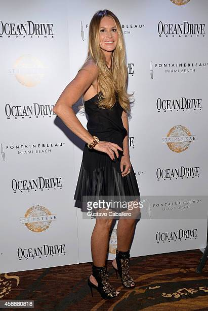 Elle Macpherson celebrates Ocean Drive Magazine November Cover at Stripsteak on November 12 2014 in Miami Beach Florida