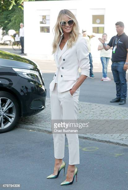 Elle Macpherson sighted arriving to the Marc Cain fashion show during the MercedesBenz Fashion Week Berlin Spring/Summer 2016 at Brandenburg Gate on...