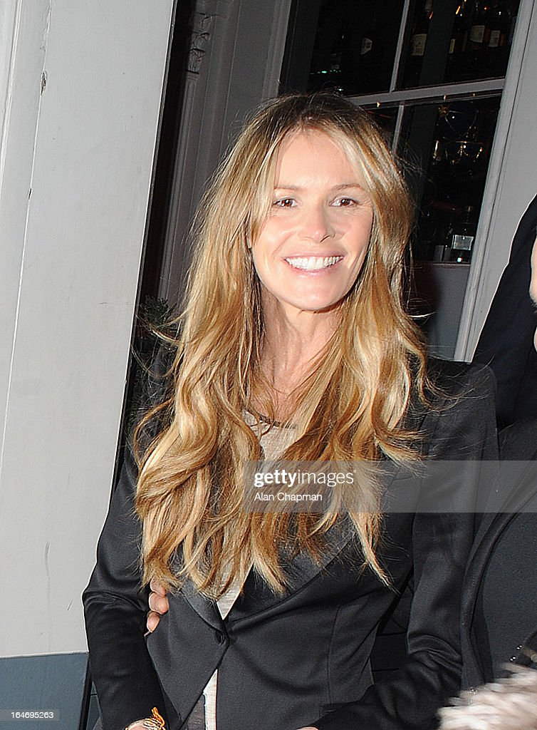Elle MAcpherson sighting leaving No 3 Cromwell Road following Barry the Dog Fitness Trainer reception on March 26, 2013 in London, England.