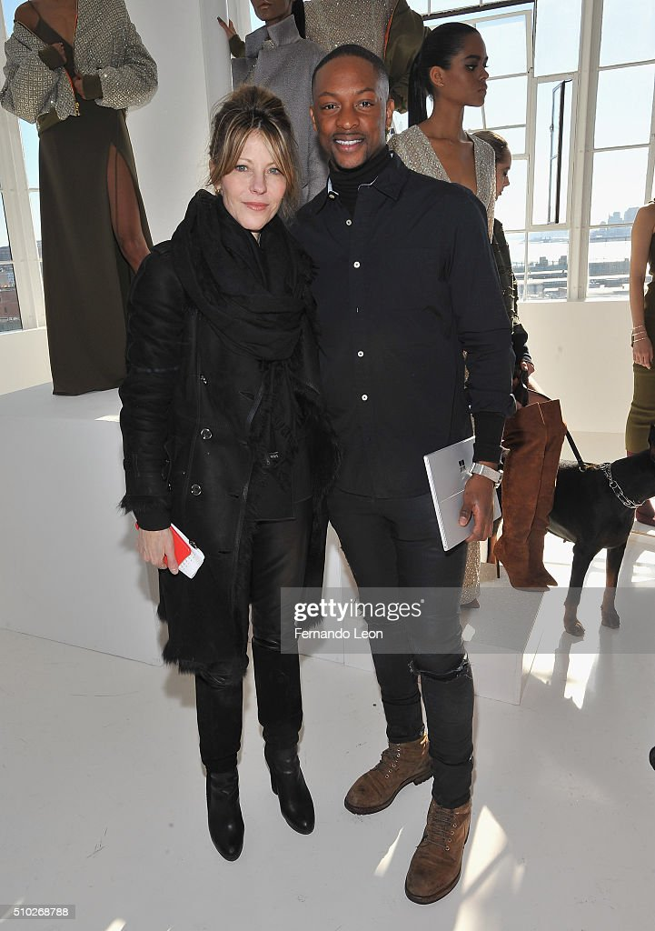 Elle Magazine editor-in-chief Robbie Myers and designer Laquan Smith (R) attend the Laquan Smith Presentation at Jack Studios during Fall 2016 New York Fashion Week on February 14, 2016 in New York City.