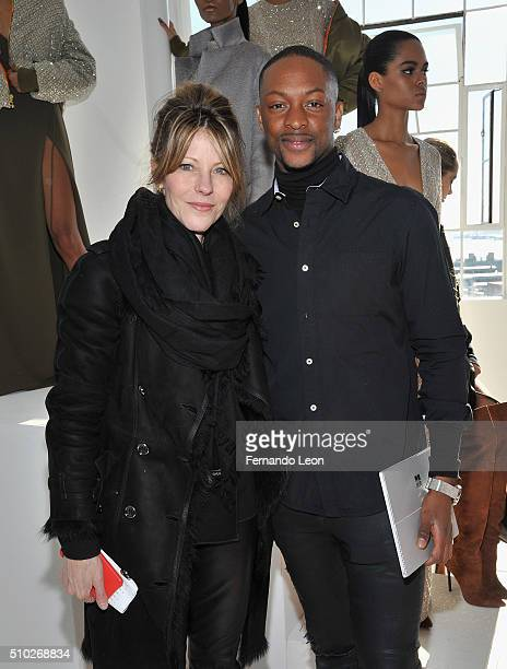 Elle Magazine editorinchief Robbie Myers and designer Laquan Smith attend the Laquan Smith Presentation at Jack Studios during Fall 2016 New York...