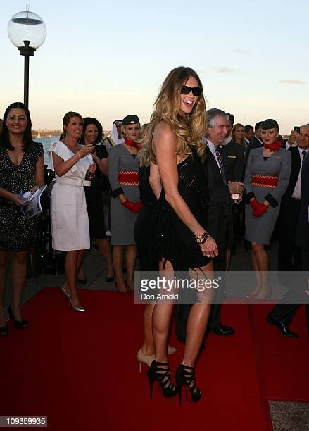 Elle McPherson arrives at the official party to celebrate V Australia and Etihad Airways inaugural Abu Dhabi flight at the on February 23 2011 in...