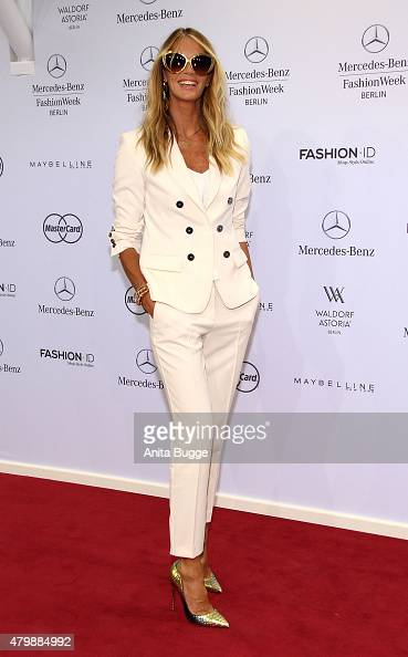 Elle McPherson attends the Marc Cain show during the MercedesBenz Fashion Week Berlin Spring/Summer 2016 at Brandenburg Gate on July 7 2015 in Berlin...