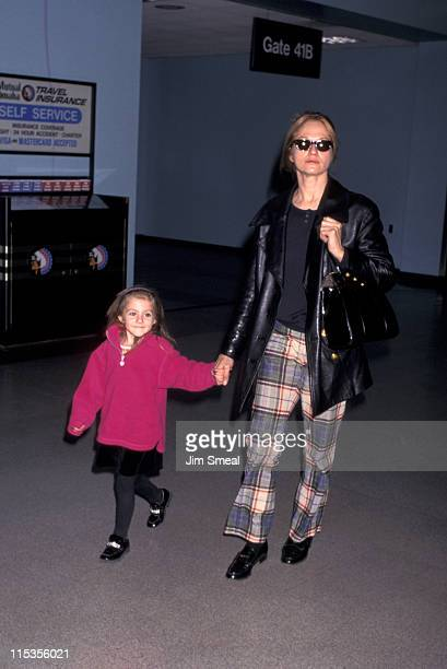 Ellen Barkin and daughter during Ellen Barkin at LAX January 8 1997 at Los Angeles International Airport in Los Angeles California United States