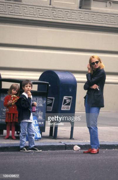 Ellen Barkin and kids during Ellen Barkin Sighting in New York April 25 1996 at 5th Avenue in New York City New York United States
