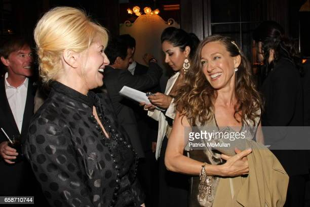 Ellen Barkin and Sarah Jessica Parker attend FRIENDS IN DEED Fall Benefit Honoring Donna Karan and Andy Cohen at Balthazar on June 16 2009 in New...