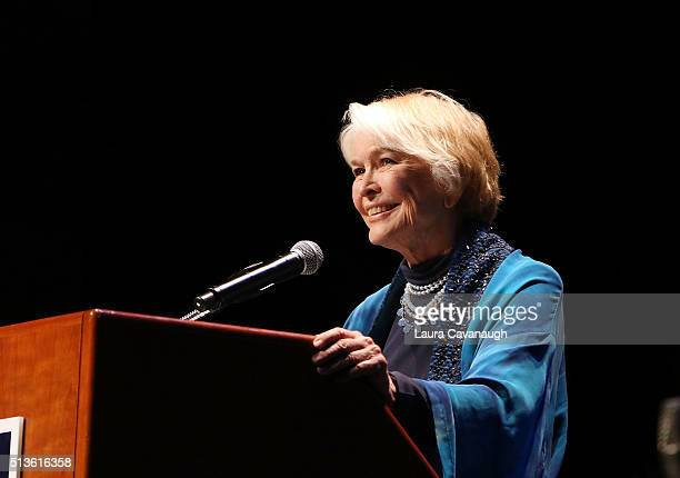 Ellen Burstyn attends 2016 John Jay Medal for Justice Award at Gerald W Lynch Theater at John Jay College of Criminal Justice on March 3 2016 in New...