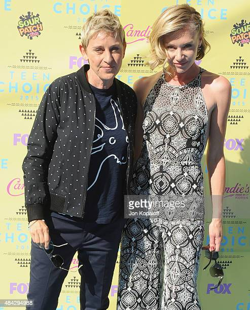 Ellen DeGeneres and actress Portia de Rossi arrive at the Teen Choice Awards 2015 at Galen Center on August 16 2015 in Los Angeles California