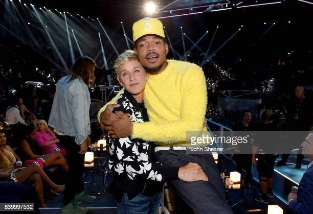Ellen DeGeneres and Chance The Rapper pose during the 2017 MTV Video Music Awards at The Forum on August 27 2017 in Inglewood California