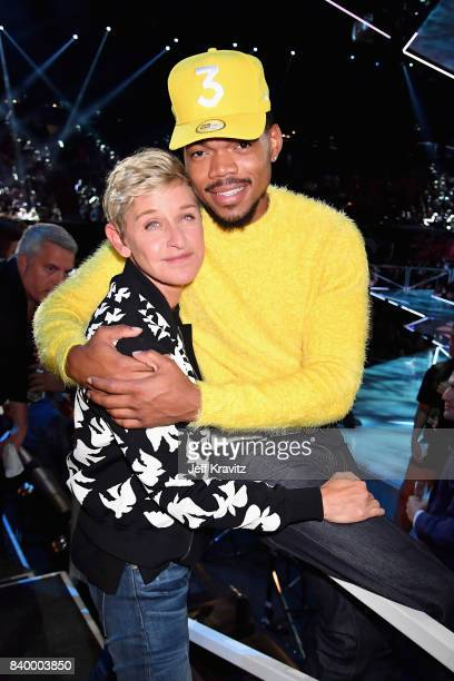 Ellen DeGeneres and Chance The Rapper pose together during the 2017 MTV Video Music Awards at The Forum on August 27 2017 in Inglewood California