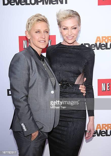 Ellen DeGeneres and Portia de Rossi arrive at Netflix's Los Angeles premiere of 'Arrested Development' season 4 held at TCL Chinese Theatre on April...