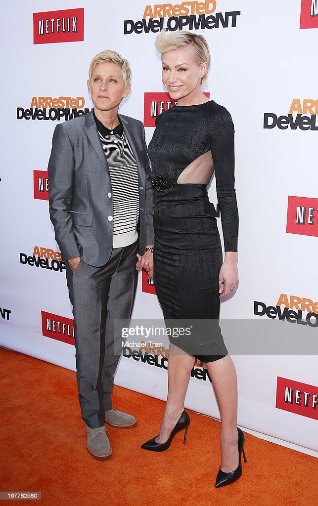 Ellen DeGeneres (L) and Portia de Rossi arrive at Netflix's Los Angeles premiere of 'Arrested Development' season 4 held at TCL Chinese Theatre on April 29, 2013 in Hollywood, California.