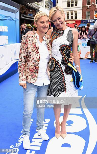 Ellen DeGeneres and Portia de Rossi arrive for the UK Premiere of 'Finding Dory' at Odeon Leicester Square on July 10 2016 in London England