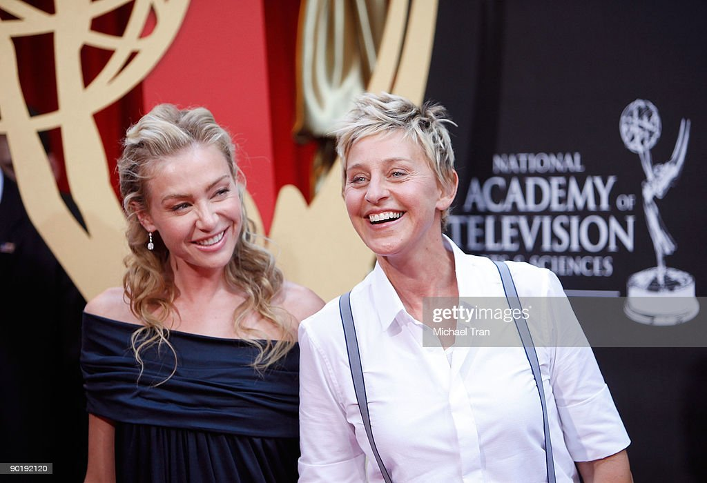 <a gi-track='captionPersonalityLinkClicked' href=/galleries/search?phrase=Ellen+DeGeneres&family=editorial&specificpeople=171367 ng-click='$event.stopPropagation()'>Ellen DeGeneres</a> (R) and Portia de Rossi arrive to the 36th Annual Daytime Emmy Awards held at The Orpheum Theatre on August 30, 2009 in Los Angeles, California.