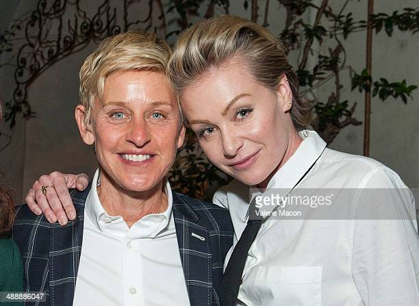 Ellen DeGeneres and Portia de Rossi attend Arianna Huffington's 'Thrive' book party hosted by Victoria Jackson Kathy Freston And Dean Ornish on May 8...