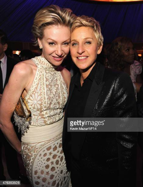 Ellen DeGeneres and Portia de Rossi attend the 2014 Vanity Fair Oscar Party Hosted By Graydon Carter on March 2 2014 in West Hollywood California