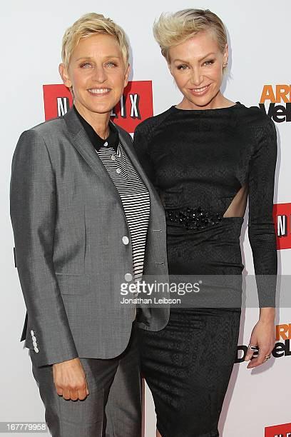Ellen DeGeneres and Portia de Rossi attend the Netflix's Los Angeles Premiere Of 'Arrested Development' Season 4 at TCL Chinese Theatre on April 29...