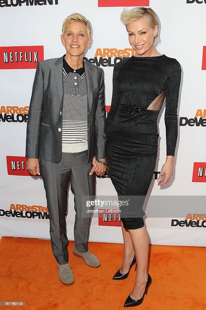 Ellen DeGeneres and Portia de Rossi attend the Netflix's Los Angeles Premiere Of 'Arrested Development' Season 4 at TCL Chinese Theatre on April 29, 2013 in Hollywood, California.