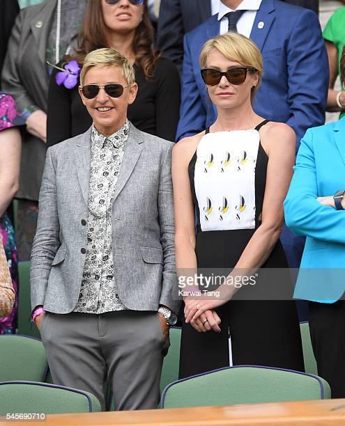 Ellen DeGeneres and Portia de Rossi attend the women's final of the Wimbledon Tennis Championships between Serena Williams and Angelique Kerber at...