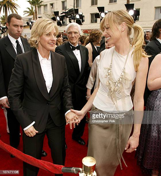 Ellen Degeneres and Portia De Rossi during 33rd Annual Daytime Emmy Awards Red Carpet at Kodak Theater in Hollywood California United States