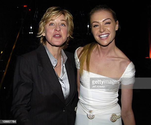 Ellen Degeneres and Portia de Rossi during HBO Golden Globe Awards Party Inside at Beverly Hills Hilton in Beverly Hills California United States