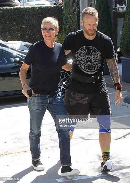 Ellen DeGeneres and trainer Bob Harper are seen on September 03 2014 in Los Angeles California