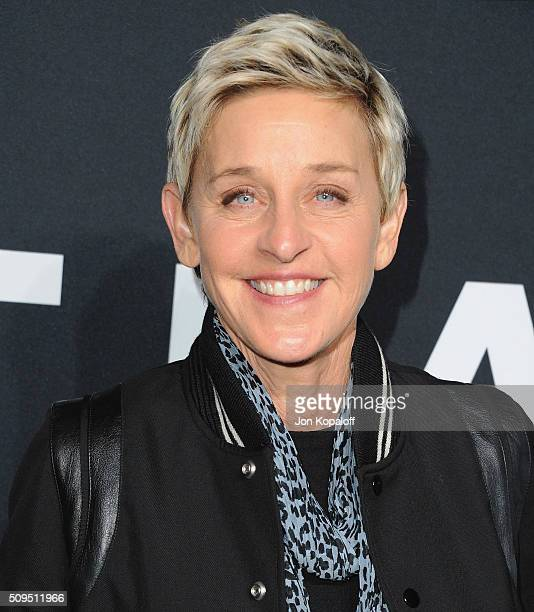 Ellen DeGeneres arrives at SAINT LAURENT At The Palladium at Hollywood Palladium on February 10 2016 in Los Angeles California