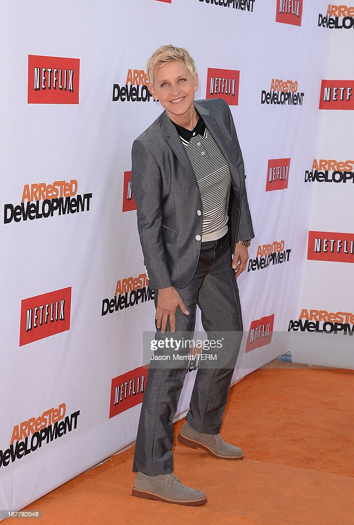 <a gi-track='captionPersonalityLinkClicked' href=/galleries/search?phrase=Ellen+DeGeneres&family=editorial&specificpeople=171367 ng-click='$event.stopPropagation()'>Ellen DeGeneres</a> arrives at the TCL Chinese Theatre for the premiere of Netflix's 'Arrested Development' Season 4 held on April 29, 2013 in Hollywood, California.