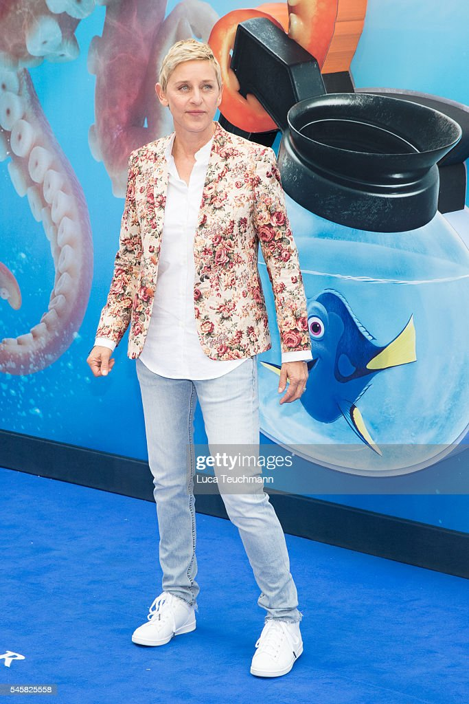 Ellen DeGeneres arrives for the UK Premiere of 'Finding Dory' at Odeon Leicester Square on July 10, 2016 in London, England.