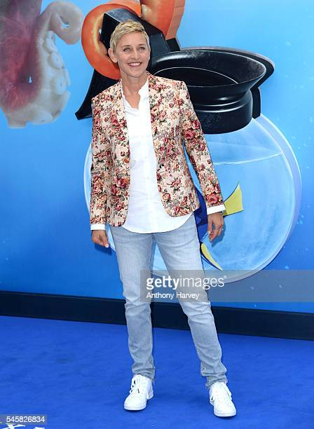 Ellen DeGeneres attends the UK Premiere of 'Finding Dory' at Odeon Leicester Square on July 10 2016 in London England