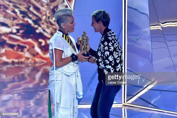 Ellen DeGeneres presents Pink the MTV Michael Jackson Video Vanguard Award onstage during the 2017 MTV Video Music Awards at The Forum on August 27...
