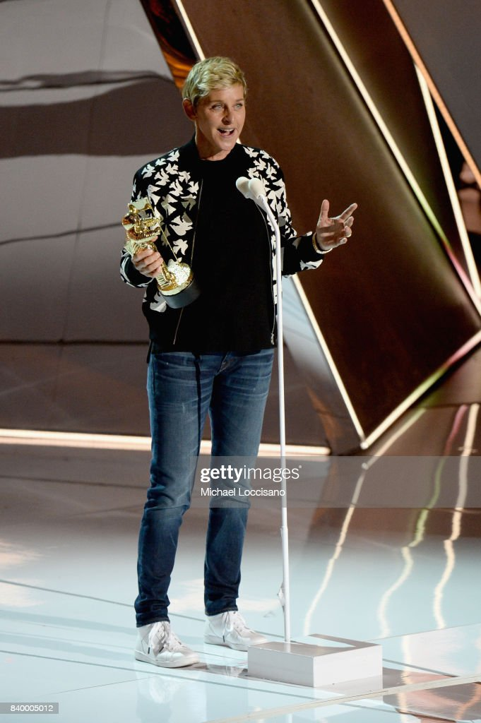 Ellen DeGeneres presents the Michael Jackson Video Vanguard Award onstage during the 2017 MTV Video Music Awards at The Forum on August 27, 2017 in Inglewood, California.
