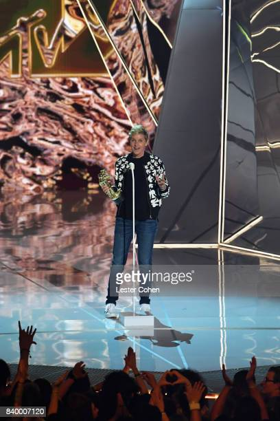 Ellen DeGeneres presents the Michael Jackson Video Vanguard Award onstage during the 2017 MTV Video Music Awards at The Forum on August 27 2017 in...