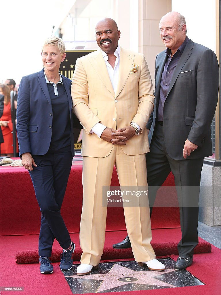 <a gi-track='captionPersonalityLinkClicked' href=/galleries/search?phrase=Ellen+DeGeneres&family=editorial&specificpeople=171367 ng-click='$event.stopPropagation()'>Ellen DeGeneres</a>, <a gi-track='captionPersonalityLinkClicked' href=/galleries/search?phrase=Steve+Harvey&family=editorial&specificpeople=210865 ng-click='$event.stopPropagation()'>Steve Harvey</a> and Dr. <a gi-track='captionPersonalityLinkClicked' href=/galleries/search?phrase=Phil+McGraw&family=editorial&specificpeople=234933 ng-click='$event.stopPropagation()'>Phil McGraw</a> attend the ceremony honoring <a gi-track='captionPersonalityLinkClicked' href=/galleries/search?phrase=Steve+Harvey&family=editorial&specificpeople=210865 ng-click='$event.stopPropagation()'>Steve Harvey</a> with a Star on The Hollywood Walk of Fame held on May 13, 2013 in Hollywood, California.