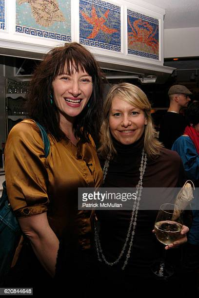 Ellen Harvey and Susan Casdin attend Whitney Biennial Artists Party at Trata Estiatoria on March 8 2008 in New York City