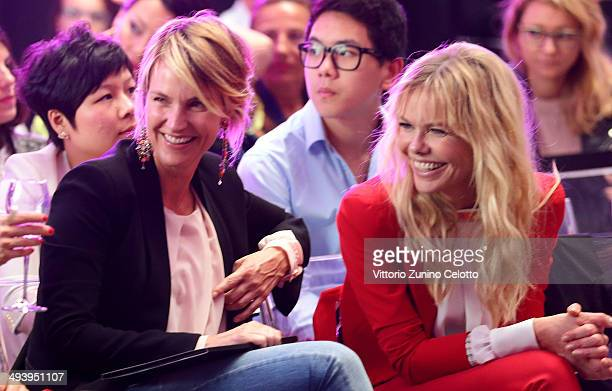 Ellen Hidding and Barbara Snellenburg attend the Mangano fashion show on May 26 2014 in Milan Italy