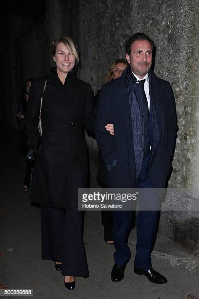 Ellen Hidding and Roberto Cozzi arrive at Vogue Christmas dinner on December 10 2015 in Milan Italy