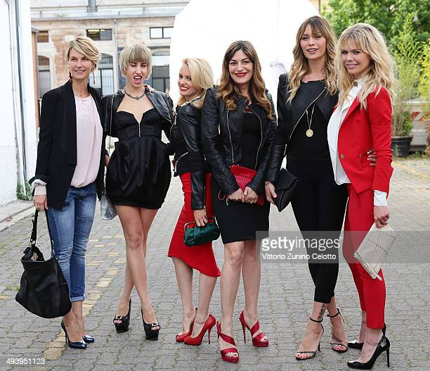Ellen Hidding Justine Mattera Elenoire Casalegno Barbara Snellenburg attend the Mangano fashion show on May 26 2014 in Milan Italy