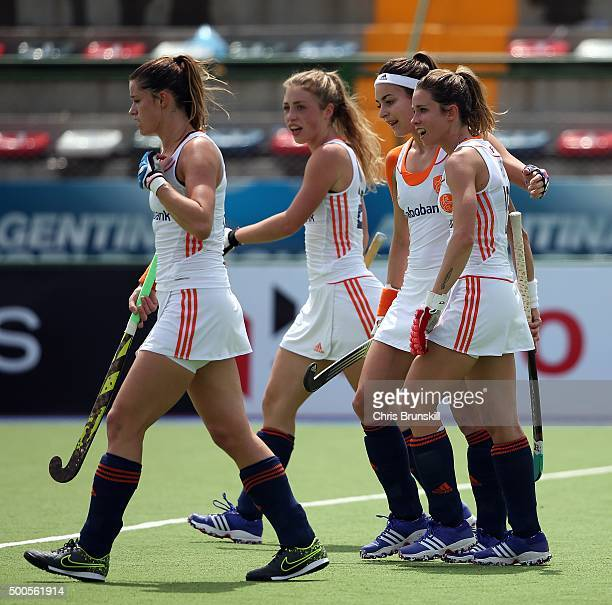 Ellen Hoog of the Netherlands is congratulated by her teammates after scoring her side's third goal against Republic of Korea during Day 5 of the...