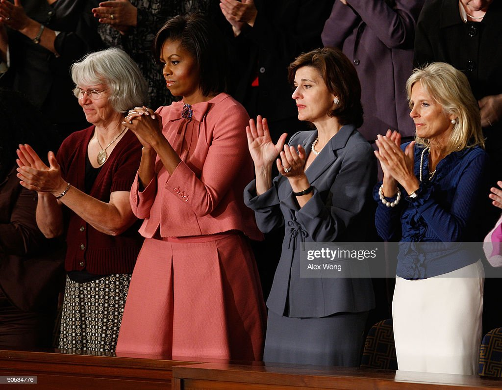 Ellen Linderman, U.S. first lady Michelle Obama, Vicki Kennedy, and Dr. Jill Biden applaud as U.S. President Barack Obama finishes his address to a joint session of the U.S. Congress at the U.S. Capitol September 9, 2009 in Washington, DC. Obama addressed the joint session to urge passage of his national health care plan, the centerpiece of his domestic agenda.