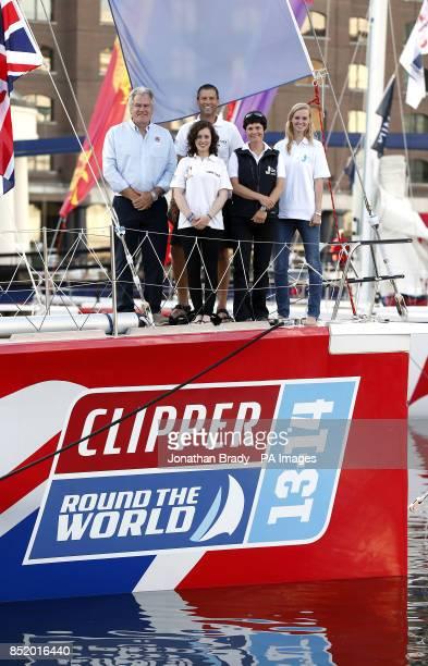 Ellen MacArthur with Great Britain crew member Kristie Reid and skipper Simon Talbot in St Katharine Docks London