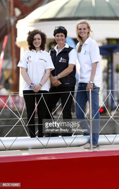 Ellen MacArthur with Great Britain crew member Kristie Reid in St Katharine Docks London