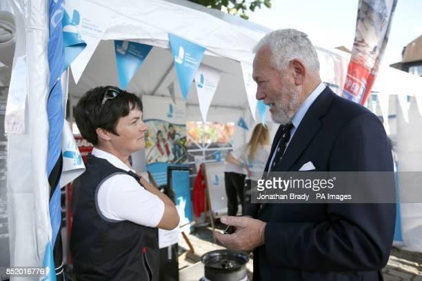 Ellen MacArthur with Sir Robin KnoxJohnston in St Katharine Docks London