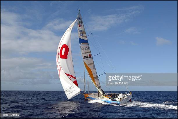 Ellen Mc Arthur on her boat the Kingfisher on November 23 in Pointe a Pitre France