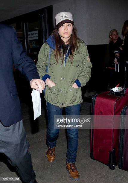 Ellen Page is seen at Los Angeles International Airport on March 17 2013 in Los Angeles California