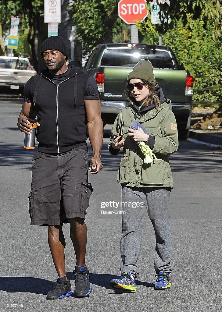 Ellen Page is seen leaving a private gym with her trainer on December 09, 2013 in Los Angeles, California.