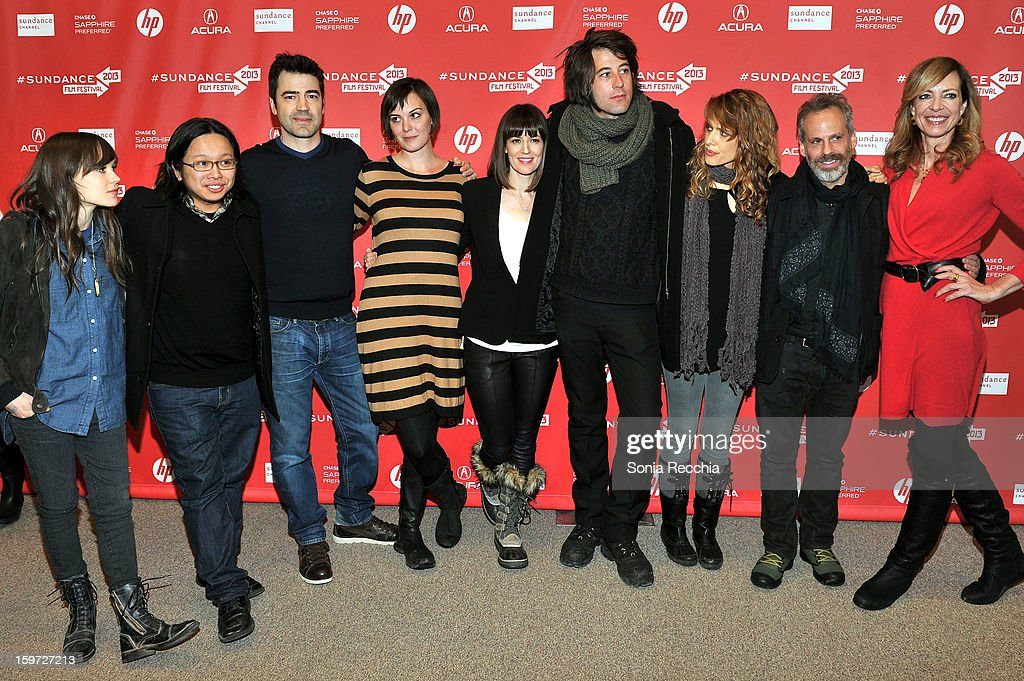 <a gi-track='captionPersonalityLinkClicked' href=/galleries/search?phrase=Ellen+Page&family=editorial&specificpeople=623049 ng-click='$event.stopPropagation()'>Ellen Page</a>, Tomo Nakayama, <a gi-track='captionPersonalityLinkClicked' href=/galleries/search?phrase=Ron+Livingston&family=editorial&specificpeople=213878 ng-click='$event.stopPropagation()'>Ron Livingston</a>, Alycia Delmore, <a gi-track='captionPersonalityLinkClicked' href=/galleries/search?phrase=Rosemarie+DeWitt&family=editorial&specificpeople=630212 ng-click='$event.stopPropagation()'>Rosemarie DeWitt</a>, Benjamin Kasulke, Lynn Shelton, <a gi-track='captionPersonalityLinkClicked' href=/galleries/search?phrase=Josh+Pais&family=editorial&specificpeople=753345 ng-click='$event.stopPropagation()'>Josh Pais</a> and <a gi-track='captionPersonalityLinkClicked' href=/galleries/search?phrase=Allison+Janney&family=editorial&specificpeople=206290 ng-click='$event.stopPropagation()'>Allison Janney</a> attend the 'Touchy Feely' premiere at Eccles Center Theatre during the 2013 Sundance Film Festival on January 19, 2013 in Park City, Utah.